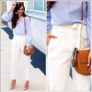 Express White High Waist Sash Tie Pants